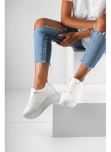 İnan Ayakkabı Bayan Spor Yüksek Taban Beyaz